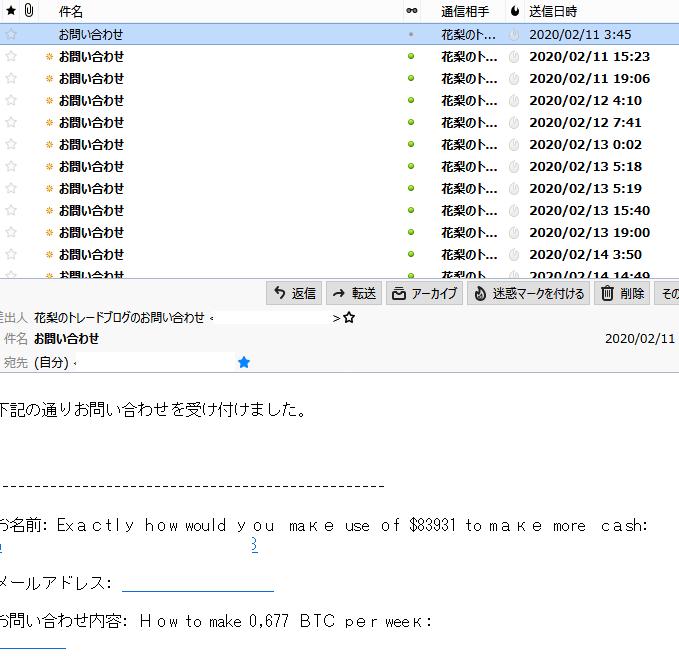 LION BLOGお問い合わせフォームに来たスパムメール例