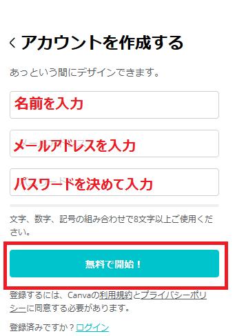Canvaの使い方 アカウント作成